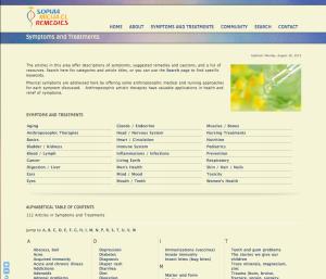 Symptoms and Remedies page of Sophia Micha-el Remedies