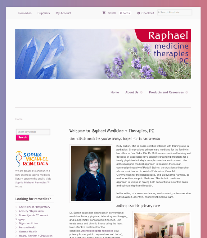 The new Raphael Medicine + Therapies PC web site is built on WordPress and includes a new online shopping experience